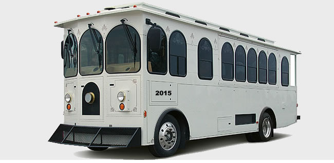 party bus, party trolley, wedding trolley, wedding bus
